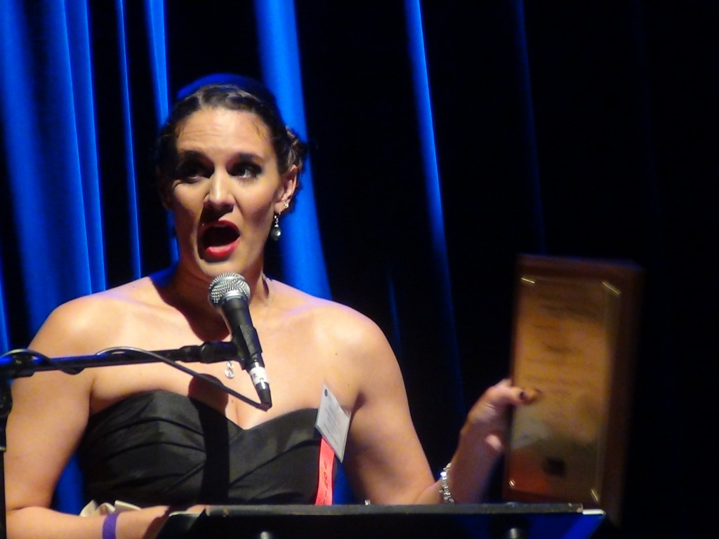"""Danni Smith, Best Actress in a Musical for """"Passion,""""   at the 2014 Jeff Awards."""