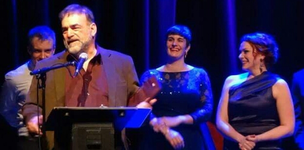 """Best Revue -- Artistic Director Fred Anzevino speaks on behalf of Theo and """"Always...Patsy Cline"""" stars (from left) Aaron Benham, Danni Smith and Christina Hall at the 2015 Awards."""