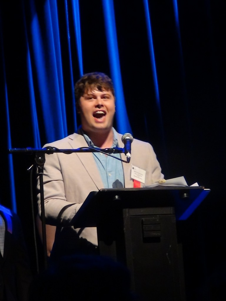 """Winner of 2014 Best Musical Direction for """"Passion,""""   Kory Danielson, addresses the crowd."""